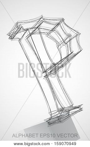 Abstract illustration of a Ink sketched uppercase letter P with Reflection. Hand drawn 3D P for your design. EPS 10 vector illustration.
