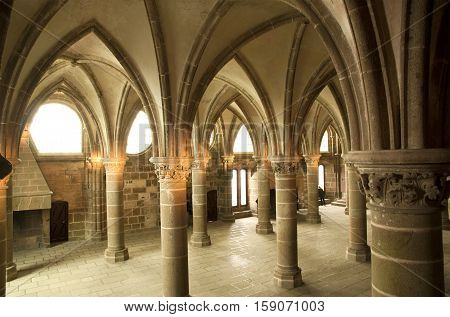 Mont Saint-michel, France, May 06: Mont Saint-michel, Normandy, France, May 06, 2012.the Cloister. M