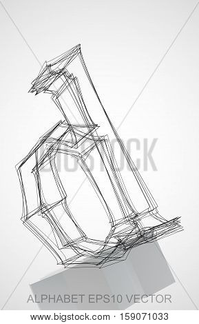 Abstract illustration of a Ink sketched lowercase letter D with Reflection. Hand drawn 3D D for your design. EPS 10 vector illustration.