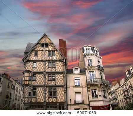 Front Of The House Of Adam, Old Half-timbered House In The City Of Angers, France