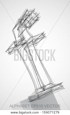 Abstract illustration of a Ink sketched lowercase letter F with Reflection. Hand drawn 3D F for your design. EPS 10 vector illustration.