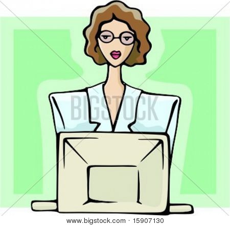 Businesswoman is working with a computer. Check my portfolio for many more images of this series.