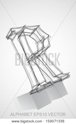 Abstract illustration of a Ink sketched uppercase letter R with Reflection. Hand drawn 3D R for your design. EPS 10 vector illustration.