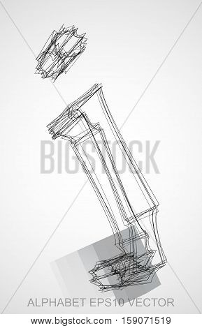 Abstract illustration of a Ink sketched lowercase letter J with Reflection. Hand drawn 3D J for your design. EPS 10 vector illustration.