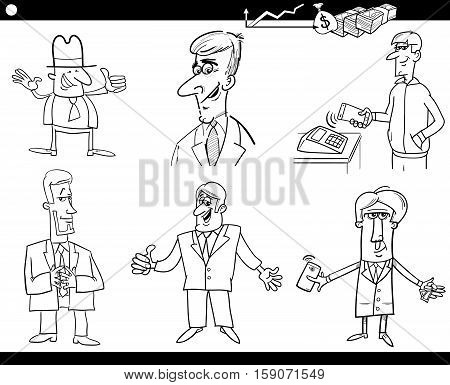 Black and White Cartoon Illustration Set of Funny Businessman Characters and Business Concepts