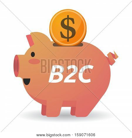 Isolated Piggy Bank With    The Text B2C