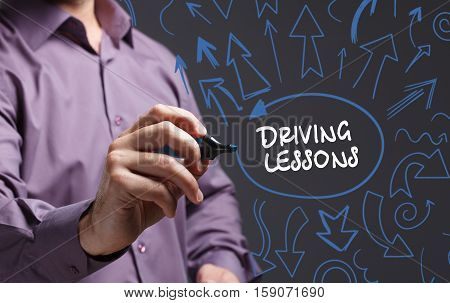 Technology, Internet, Business And Marketing. Young Business Man Writing Word: Driving Lessons