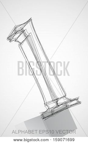 Abstract illustration of a Ink sketched lowercase letter L with Reflection. Hand drawn 3D L for your design. EPS 10 vector illustration.