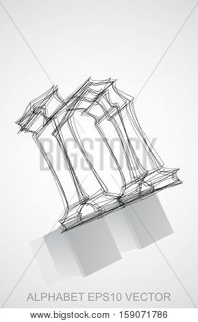 Abstract illustration of a Ink sketched lowercase letter N with Reflection. Hand drawn 3D N for your design. EPS 10 vector illustration.