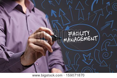 Technology, Internet, Business And Marketing. Young Business Man Writing Word: Facility Management