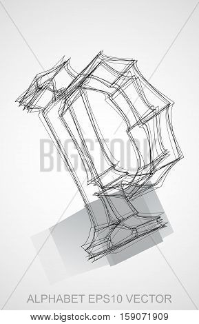 Abstract illustration of a Ink sketched lowercase letter P with Reflection. Hand drawn 3D P for your design. EPS 10 vector illustration.