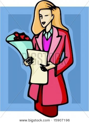 Blond businesswoman with bouquet of flowers and a document. Check my portfolio for many more images.