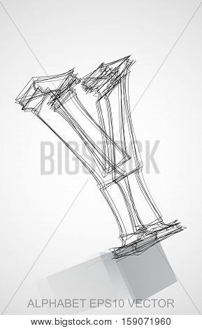 Abstract illustration of a Ink sketched Y with Reflection. Hand drawn 3D Y for your design. EPS 10 vector illustration.