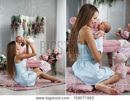 Collage of two photos,of young beautiful brunette woman with long straight hair,dressed in a white sundress,spends time with her newborn son in the bedroom,sitting on the floor on a pink fluffy rug,mom plays with the baby holding him in your arms