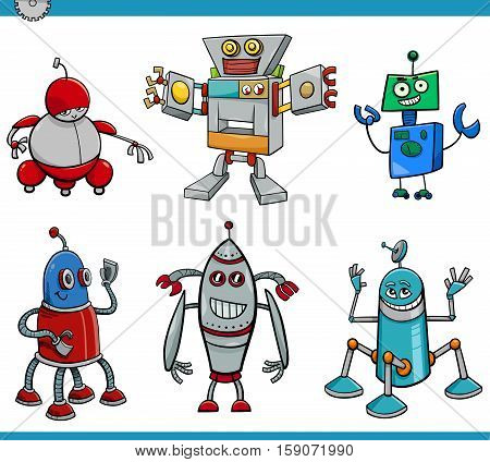 Cartoon Illustration of Robot or Droid Fantasy Characters Set