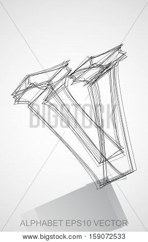 Abstract illustration of a Ink sketched lowercase letter V with Reflection. Hand drawn 3D V for your design. EPS 10 vector illustration.