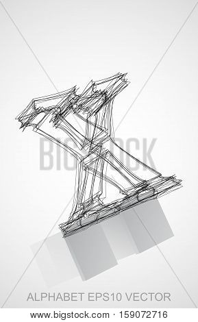 Abstract illustration of a Ink sketched lowercase letter X with Reflection. Hand drawn 3D X for your design. EPS 10 vector illustration.