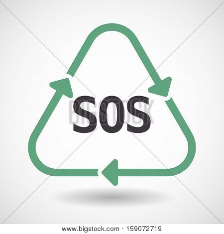 Isolated Recycle Sign With    The Text Sos