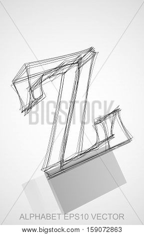 Abstract illustration of a Ink sketched lowercase letter Z with Reflection. Hand drawn 3D Z for your design. EPS 10 vector illustration.