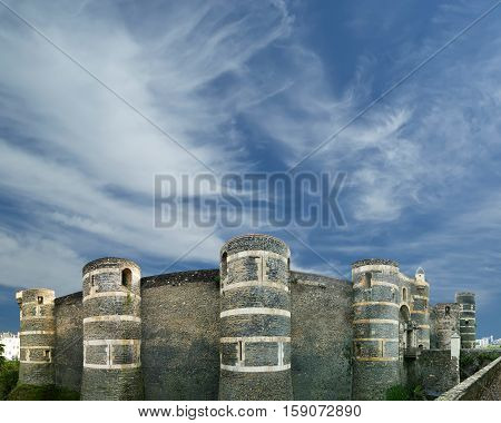 Exterior Of Angers Castle (panorama), Angers City, Maine-et-loire, France