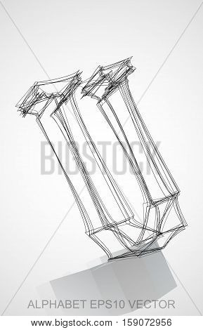 Abstract illustration of a Ink sketched uppercase letter U with Reflection. Hand drawn 3D U for your design. EPS 10 vector illustration.
