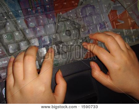 Hand On Money Laptop