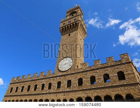 Florence Italy Old Palace And Clock Tower With Sky In Signoria S