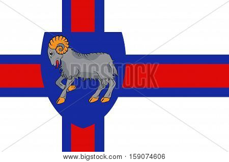 Flag of Faroe Islands is an island country of Denmark Kingdom.