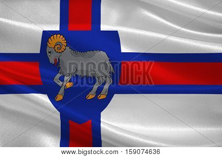 Flag of Faroe Islands is an island country of Denmark Kingdom. 3d illustration