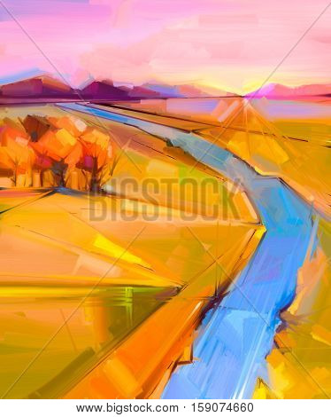 Abstract colorful oil painting landscape on canvas. Semi- abstract image of tree, hill and yellow - green field, blue river with sunlight and purple blue sky. Spring Summer season nature background