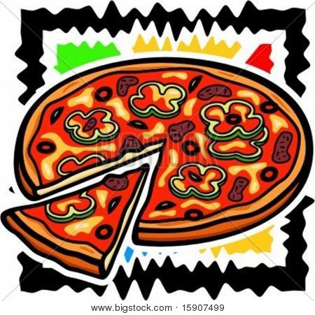 A vector illustration of a sliced pizza.