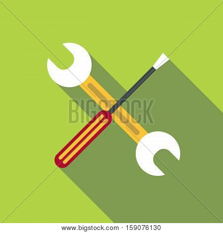 Screwdriver and wrench icon. Flat illustration of screwdriver and wrench vector icon for web design
