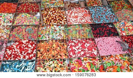 Sugary Candy And Chewy For Sale In Candy Stall In The Local Mark