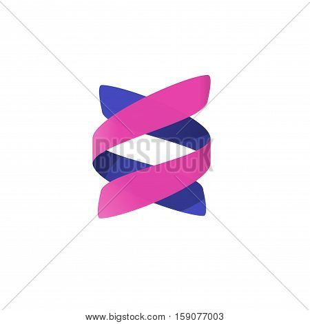 Abstract spiral logo vector element isolated, concept of bio technology logotype, dna helix, medical science symbol, modern creative ribbon brand design on white background