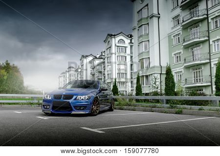 Moscow, Russia - October 02, 2016: Blue car BMW 3 Series E91 in city Moscow at daytime