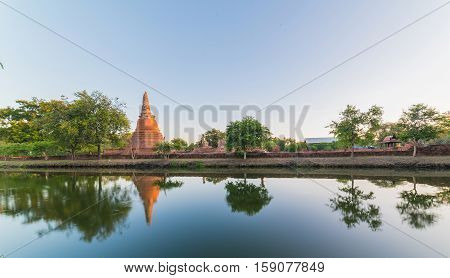 Asian Religious Architecture. Ancient Sandstone Sculpture Of Buddha At Wat Phra Sri Sanphet Temple R