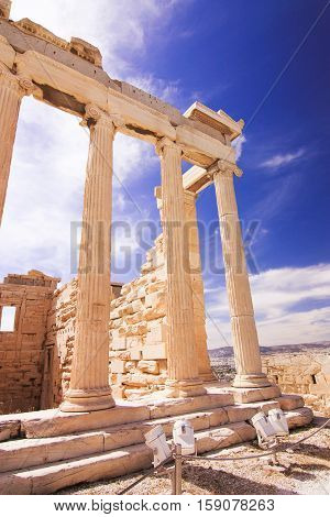 View a part of the Acropolis with blue sky on the background. Athene Greece.
