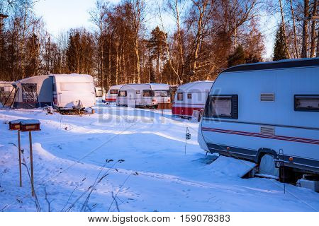 Camping With Caravans In Winter