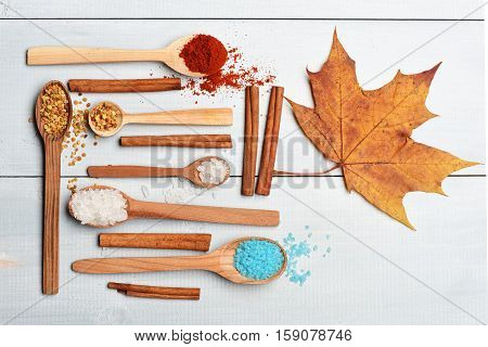 Set Of Ingredients For Cooking On Vintage Background
