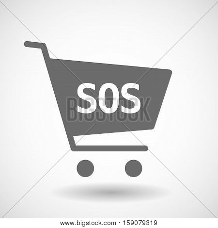 Isolated Cart With    The Text Sos