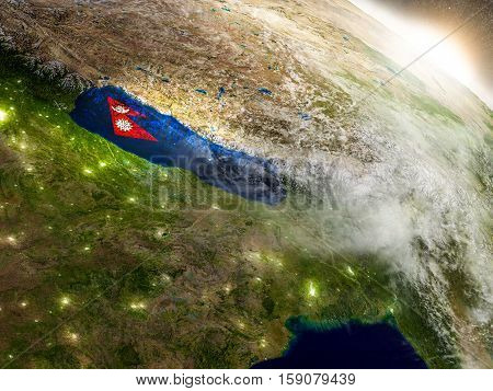 Nepal With Flag In Rising Sun