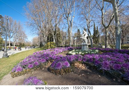 Flower bed at Retiro Park Madrid Spain. The statue depicts Hercules slaying Nemean lion.