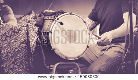 Close Up Of Hands Of A Man Playing A Drum