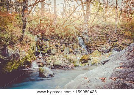 watercourse at nikko japan sunset vintage tone