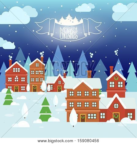 Winter view of the cottages. Winter mountain houses. Winter landscape. Winter background with cartoon houses. Winter time. Vector illustration