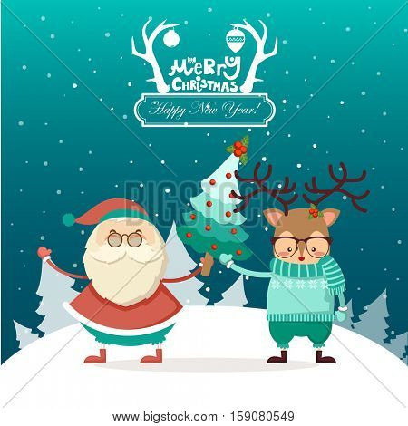Merry Christmas! Happy Christmas companions. Funny kind greeting card. Santa Claus and reindeer wishes Merry Christmas