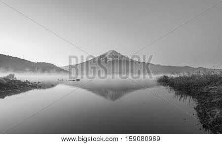 Mount Fuji At Lake Kawaguchiko, Twilight, Black And White