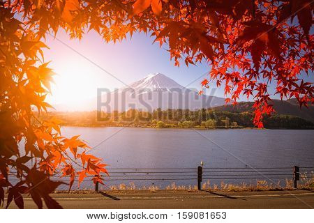red frame of maple leaf and mt.Fuji on suset