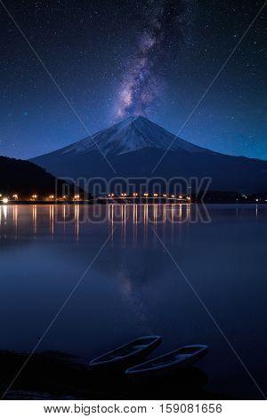 Mount fuji at Lake kawaguchiko. Milky Way