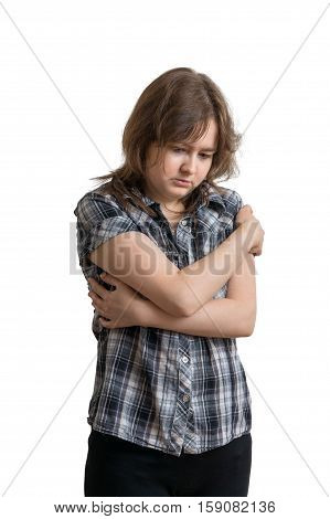 Young Sad Depressed Woman Isolated On White Background.